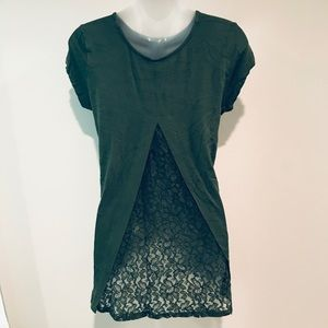 Kim & Cami Army Green Open Lace Back T-Shirt